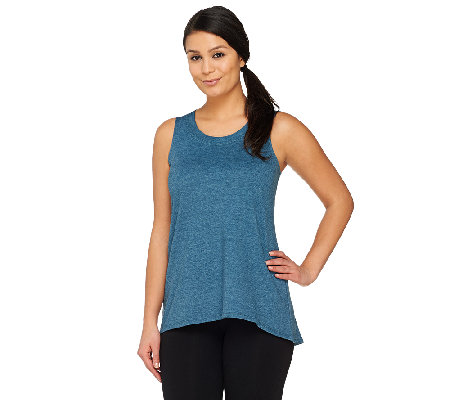 LOGO Lounge by Lori Goldstein Regular Hi-Low Hem Knit Tank