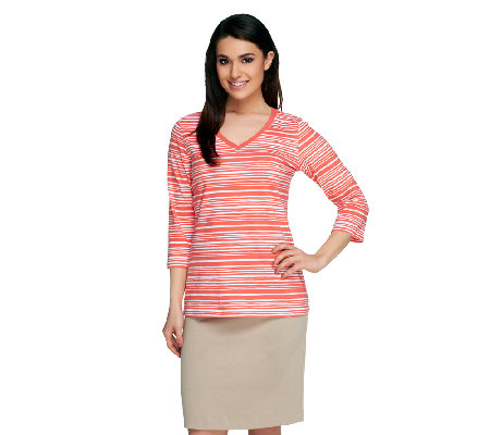 Denim & Co. Perfect Jersey Striped 3/4 Sleeve V-Neck Top