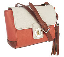 Isaac Mizrahi Live! Bridgehampton Leather Color-Block Bag - A253914