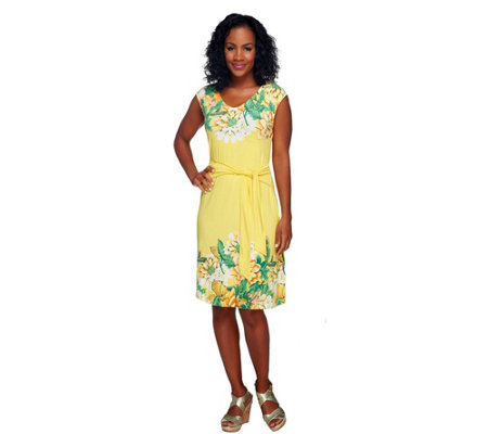 Isaac Mizrahi Live! Sleeveless Floral Printed Knit Dress