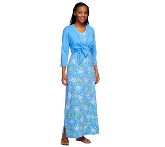 """As Is"" Denim & Co. Perfect Jersey Printed Maxi Dress with Shrug - A258714"