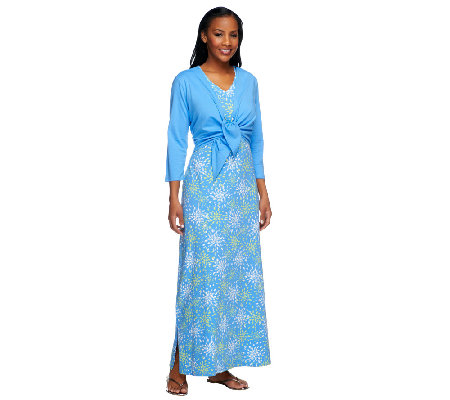 """As Is"" Denim & Co. Perfect Jersey Printed Maxi Dress with Shrug"