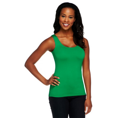 """As Is"" Susan Graver Essentials Scoop Neck Smoothing Tank"
