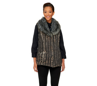 Dennis Basso Faux Fur Shawl Collar Vest with Pockets - A260414