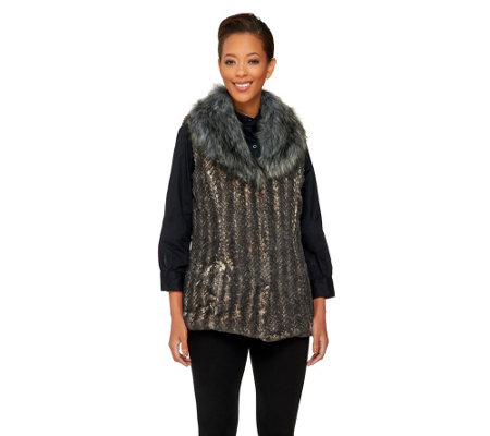 Dennis Basso Faux Fur Shawl Collar Vest with Pockets