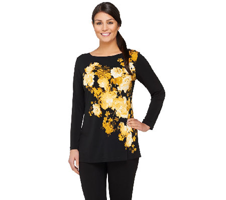 Susan Graver Placement Print Liquid Knit Long Sleeve Top w/ Bateau Neck