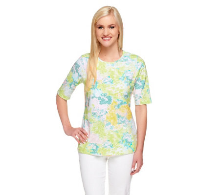 """As Is"" Denim & Co. Perfect Jersey Watercolor Top"