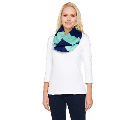 Isaac Mizrahi Live! Striped Knit Infinity Scarf