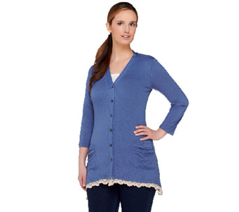 LOGO by Lori Goldstein Regular Button Front Cardigan with Lace Trim - A263214