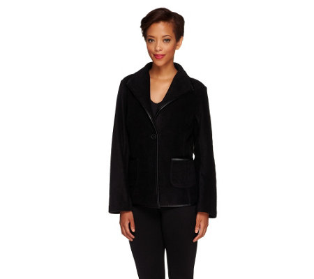 """As Is"" Susan Graver Polar Fleece Jacket with Faux Leather Trim"