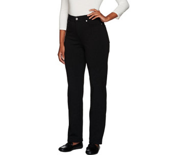 Isaac Mizrahi Live! Petite Fly Front Ponte Pants - A266814