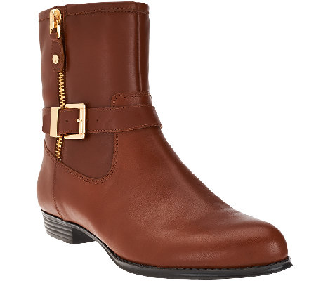 Isaac Mizrahi Live! Leather Moto Boots w/ Buckle