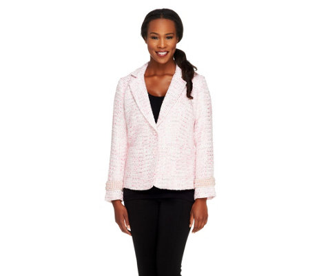 """As Is"" Joan Rivers Uptown Chic Boucle Jacket w/Long Sleeves"