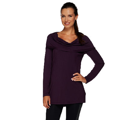 cee bee CHERYL BURKE Hooded Cowl Neck Top