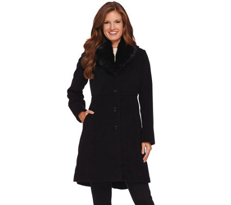 Dennis Basso Platinum Faux Cashmere Fit and Flare Coat