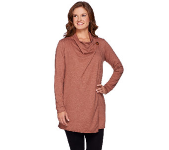 LOGO Lounge by Lori Goldstein French Terry Cardigan with Single Button - A268914