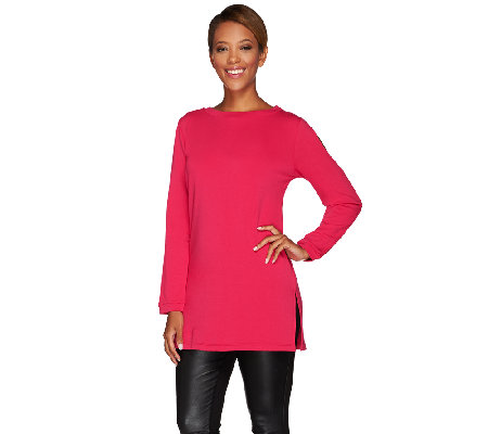 Susan Graver Weekend Brushed Back Knit Cold Shoulder Top