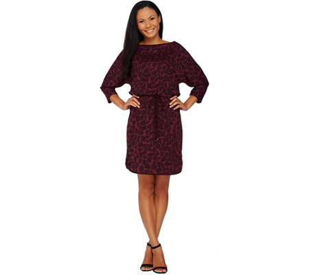 H by Halston Printed Dolman Sleeve Knit Dress with Drawstring