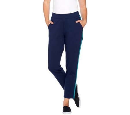 Denim & Co. Active French Terry Ankle Pants w/ Pockets