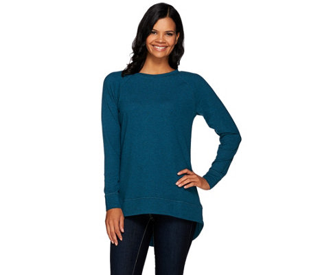 H by Halston French Terry Scoop Neck Long Sleeve Hi-Low Tunic