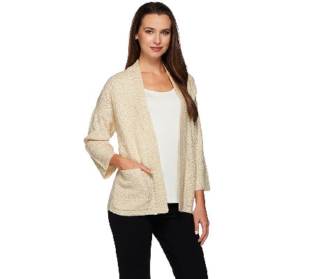 H by Halston Open Front Chunky Stitch Cardigan