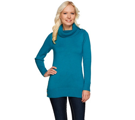 Susan Graver Cotton Acrylic Sweater with Foldover Collar