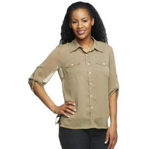 """As Is""Linea by Louis Dell'Olio Crinkle Georgette Shirt w/ Shell - A272514"