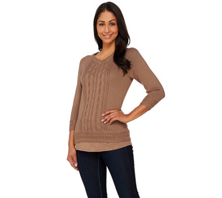 Liz Claiborne New York Pointelle Pullover Sweater