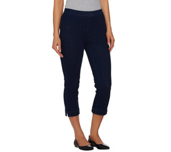 Isaac Mizrahi Live! Petite Knit Denim Pull-On Crop Jeans - A272914