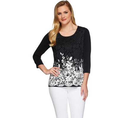 Susan Graver Printed Lace Front 3/4 Sleeve Top