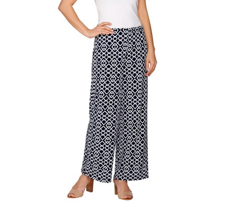 Susan Graver Printed Liquid Knit Comfort Waist Wide Leg Pants - Regular
