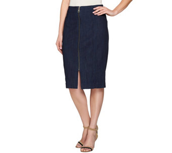 G.I.L.I. High Waisted Denim Skirt with Seaming - A277114