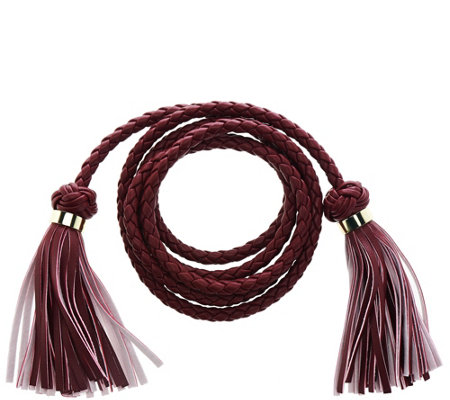 C. Wonder Faux Leather Braided Tie Belt with Tassels