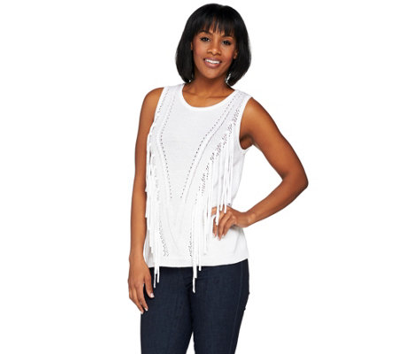 Lisa Rinna Collection Sweater Knit Top with Fringe Detail