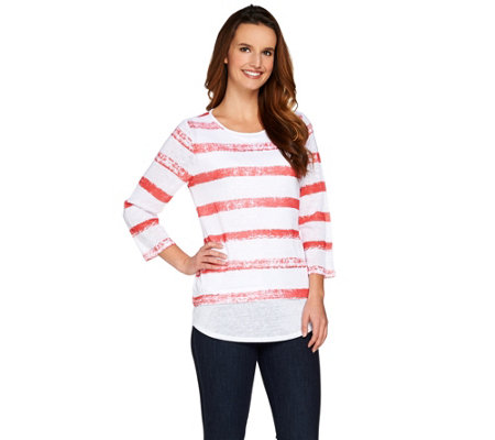 Women with Control Controlways Striped Print 3/4 Sleeve Top