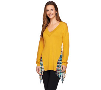 """As Is"" LOGO by Lori Goldstein V-neck Sweater with Printed Chiffon Godets - A279314"