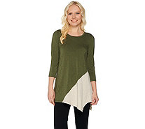LOGO Layers by Lori Goldstein Heathered Color-Block Knit Top - A279414