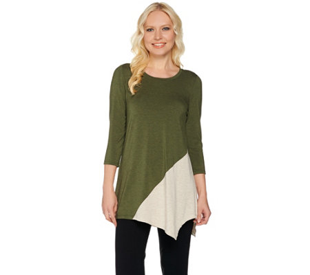 LOGO Layers by Lori Goldstein Heathered Color-Block Knit Top