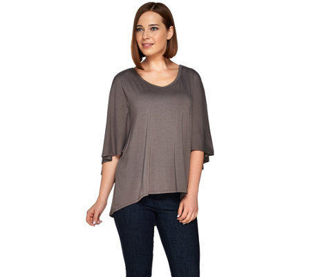 H by Halston V-Neck Knit Cape Top