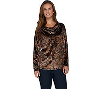 Susan Graver Printed Stretch Velvet Long Sleeve Drape Neck Top - A282914