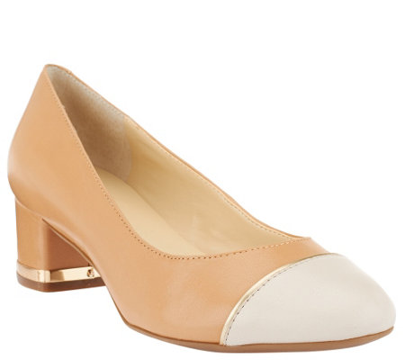 """As Is"" Isaac Mizrahi Live! Cap Toe Leather Pumps"