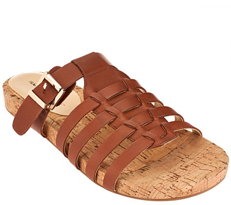 """As Is"" Isaac Mizrahi Live! Leather Fisherman Slip-On Sandals"