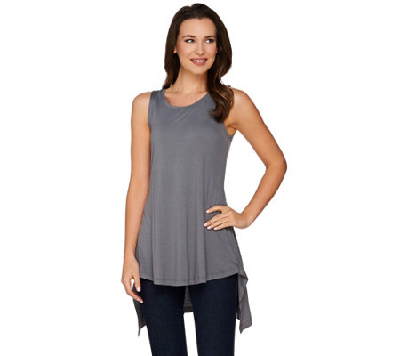 """As Is"" LOGO Layers by Lori Goldstein Knit Tank with Back Asymmetric Hem"