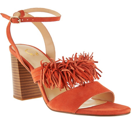 """As Is"" C. Wonder Suede Block Heel Sandal w/Fringe Gabrielle"