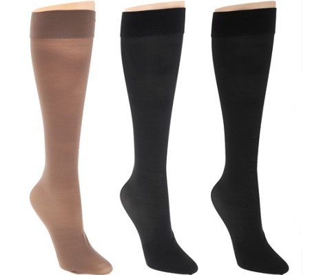 """As Is"" Legacy Sheer Graduated Compression Socks Set of 3"