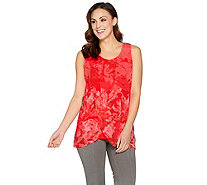 H by Halston Sleeveless Tunic w/ Floral Print Chiffon Overlay - A287114