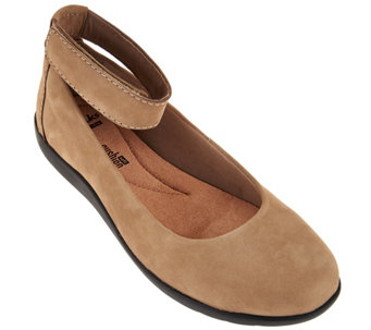 """As Is"" Clarks Collection Nubuck Leather Slip-on Shoes - Medora Nina - A288214"