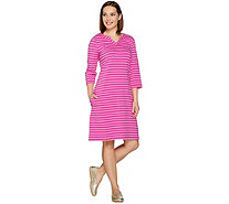 Denim & Co. 3/4 Sleeve Split V-Neck Striped Dress with Pockets - A288314