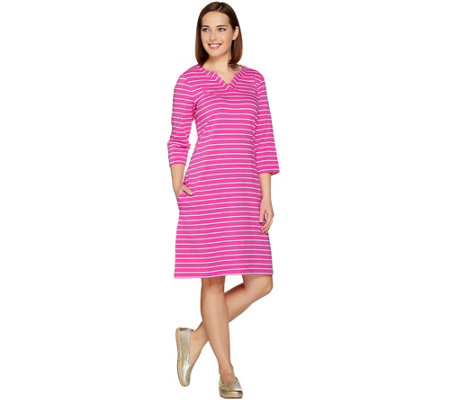 Denim & Co. 3/4 Sleeve Split V-Neck Striped Dress with Pockets