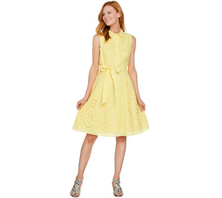 Isaac Mizrahi Live! Eyelet Shirt Dress with Removable Belt